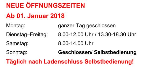 Wir haben neue Öffnungszeiten ab dem 01. Januar 2018!