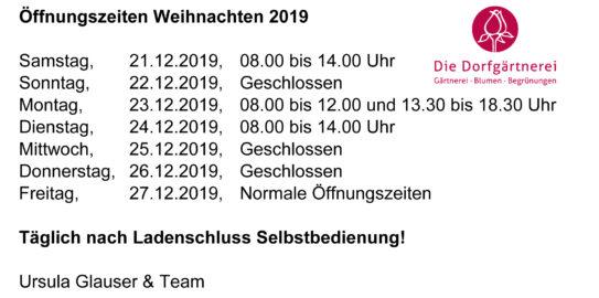 Öffnungszeiten Weihnachten 2019